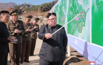 Supreme Leader Kim Jong Un Inspects Hot Spring Tourist Area under Construction in Yangdok County - Image