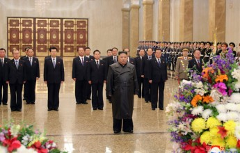 The beloved SupremeMasterKimJong-unvisited the Geumsusan Sun Palace with the members of the Political Bureau of the Central Committee of the Korean Workers' Party on the occasion of the nation's largest inclined Gwangmyeong Shrine. - Image