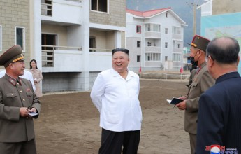 Supreme Leader Kim Jong Un Inspects Sites of Reconstruction in Kimhwa County - Image